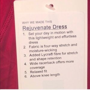 lululemon athletica Dresses - Lululemon NWT Rejuvenate Dress RUBR 8